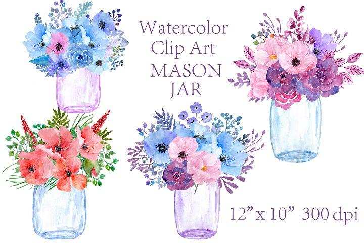 Watercolor floral  Mason Jars clipart