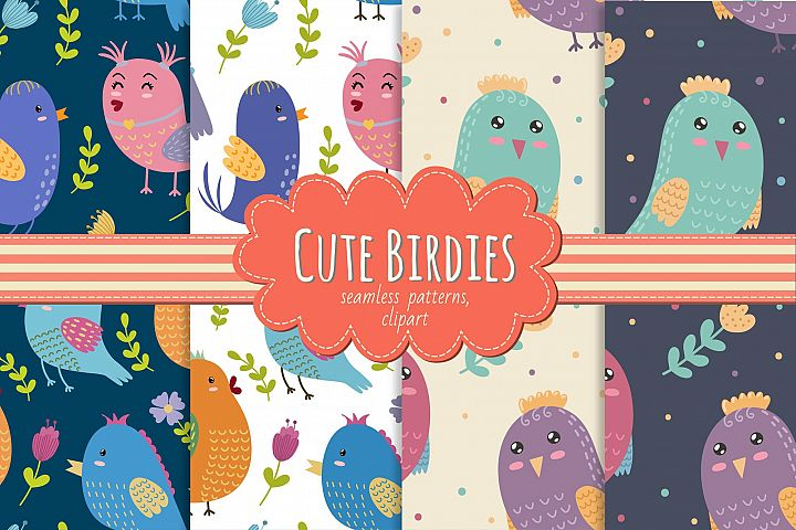 Cute Birdies: patterns & clipart