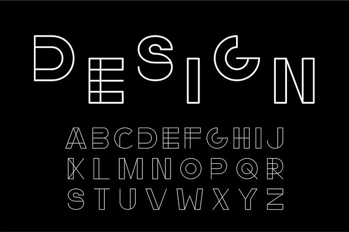 English alphabet, minimalistic design
