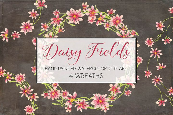 Watercolor wreath of pink daisies
