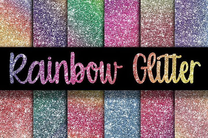 Rainbow Glitter Digital Paper Textures - Free Design of The Week
