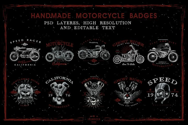 HandDraw Vintage Motorcycle Badges