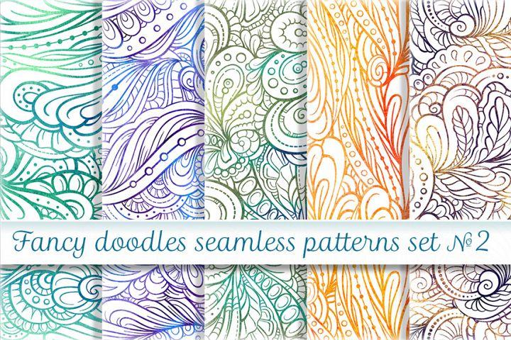 Fancy doodles seamless pattern set 2