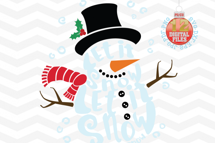 Snowman Svg - Let it snow Svg - 2 in 1- Christmas SVG - Snow SVG - Xmas svg - Christmas decor - Cutting File