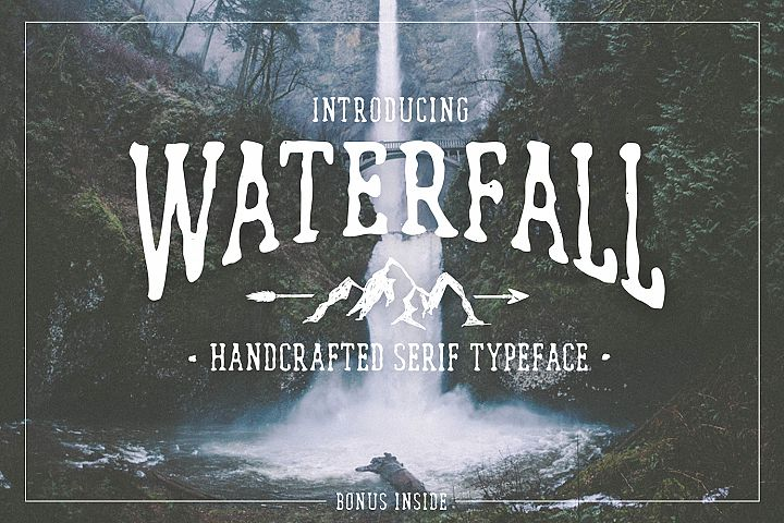 Waterfall. Handcrafted Font (+bonus)