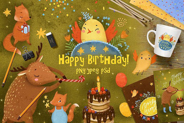 Happy birthday set clip art animals