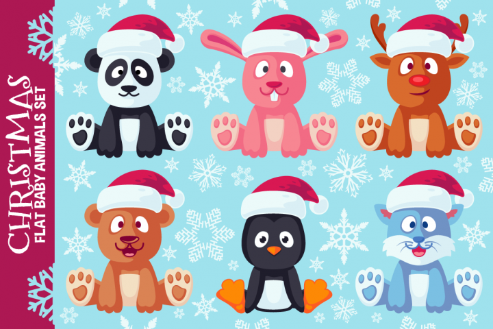 Christmas Cute Flat Animals Set