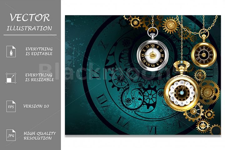 Clock with Gears on Green Background ( Steampunk )