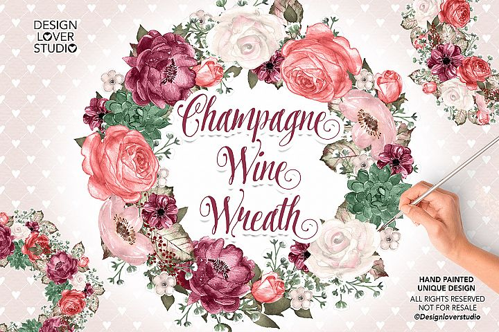 Champagne and Wine floral wreaths