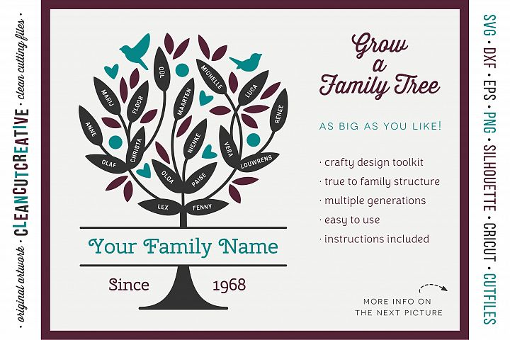 Grow a FAMILY TREE! - crafty design toolkit - SVG DXF EPS PNG - Cricut & Silhouette - clean cutting files