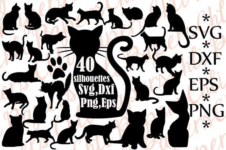 Cat silhouettes,Cat Svg,Silhouettes Svg,Cats cut file,Black Cat Svg