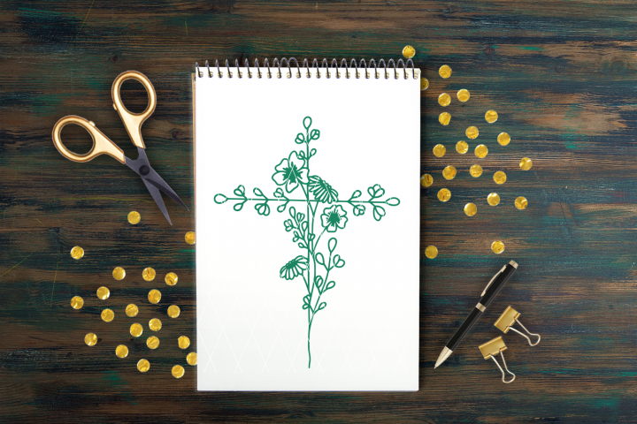 Hand Drawn Floral Cross