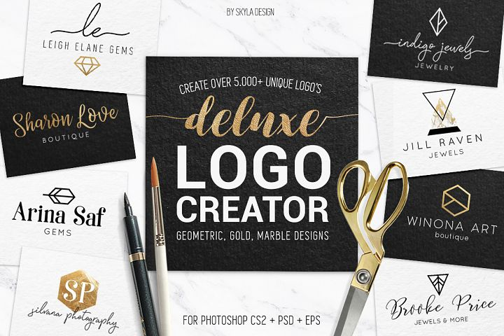 Deluxe Logo Creator Kit for Photoshop with ready made templates