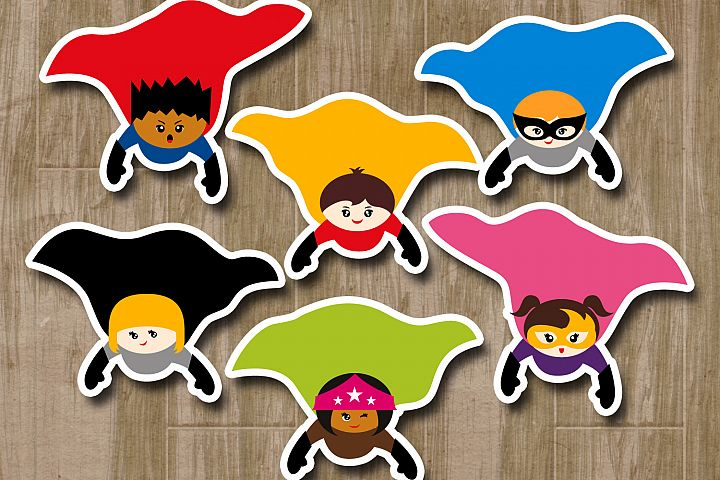 Superhero flying big cape clipart graphics