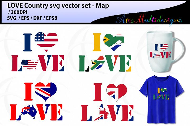 Love country map silhouette SVG - vector states map