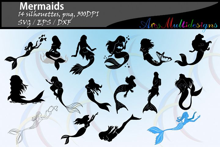 Mermaid silhouette / water girls / High Quality / beauty girl silhouette / mermaid vector / mermaid vector / EPS / PNG / SVG / DXf / 14nos