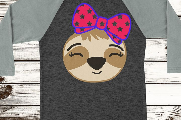Sloth Girl Kids 4th of July America Patriotic Unique Bow Hand Drawn Bow Tie Personalize  SVG DXF PNG