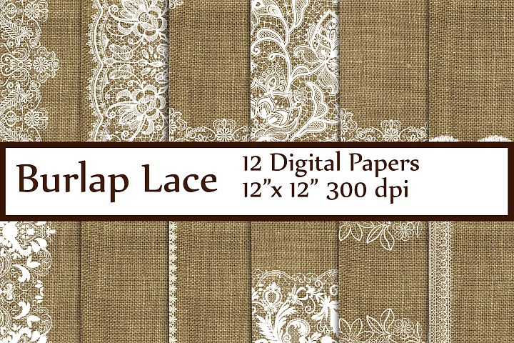 Burlap Lace Wedding digital paper