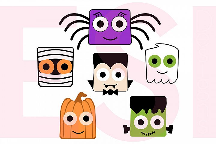 Halloween Square Heads Character Design Set