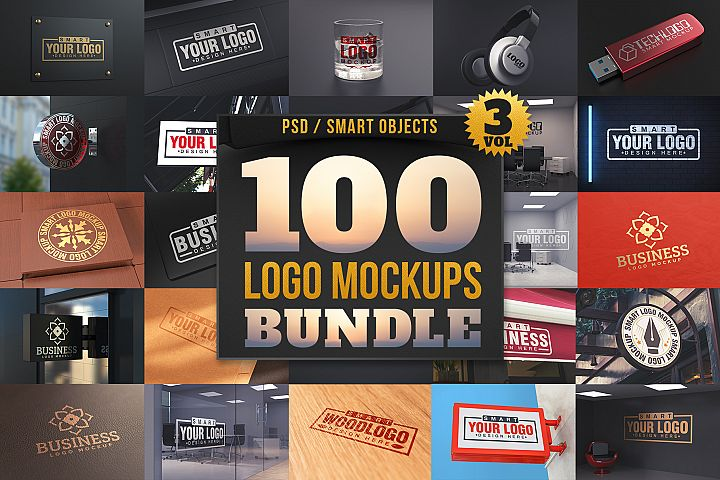 100 Logo Mockups Bundle Vol.3