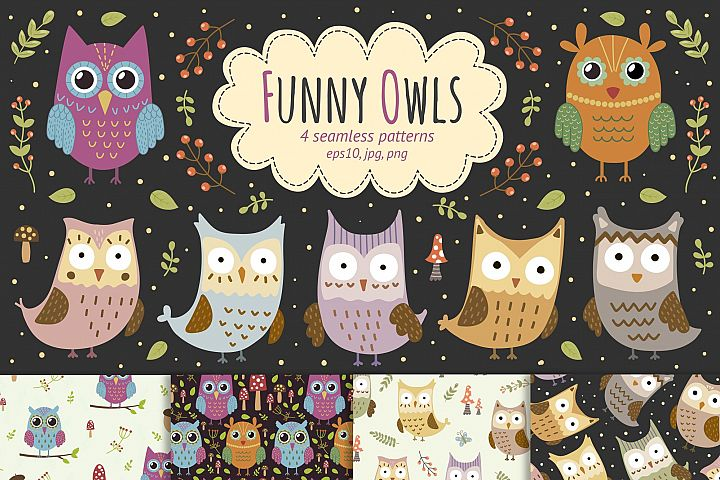 Funny Owls: seamless patterns