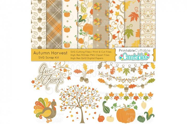 Autumn Harvest SVG Scrap Kit - Cut Files & Digital Paper