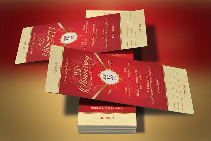 Red Gold Anniversary Gala Ticket Template