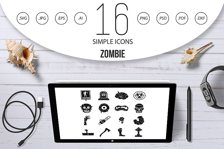 Zombie icons set parts, simple style