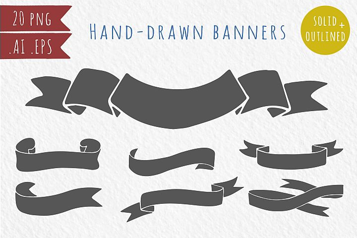20 hand-drawn ribbons, banners - Free Design of The Week