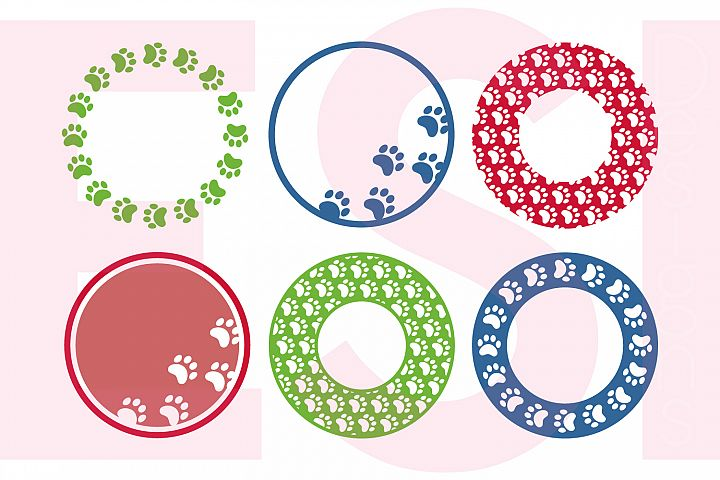 Paw Print Circle Monogram Frame Designs