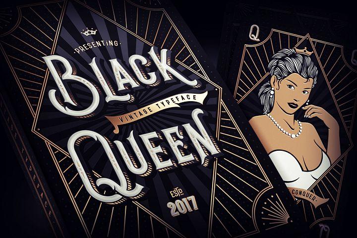 Black Queen font & bonus graphics