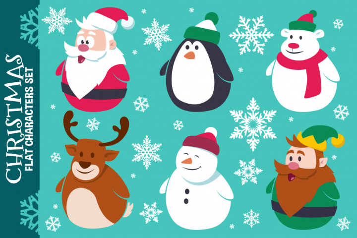 Christmas Cute Flat Characters Set - Vector