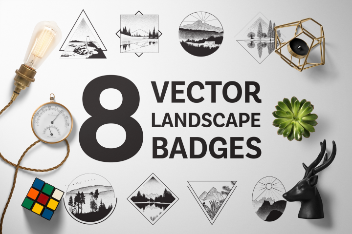 8 Vector Landscape Badges