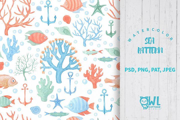 Sea Life Watercolor Seamless Pattern