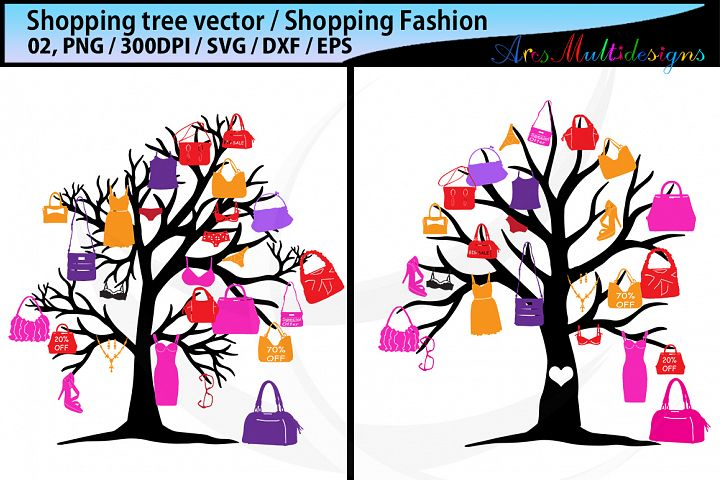 shopping bag tree silhouette vector SVG /shopping SVG vector