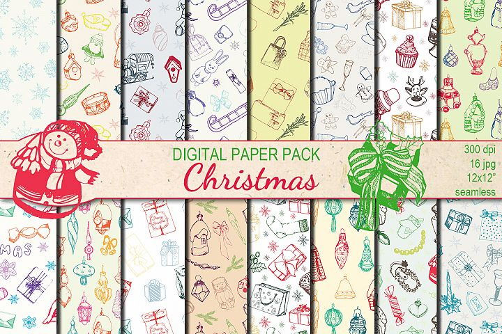 Christmas Hand drawn seamless digital paper pack