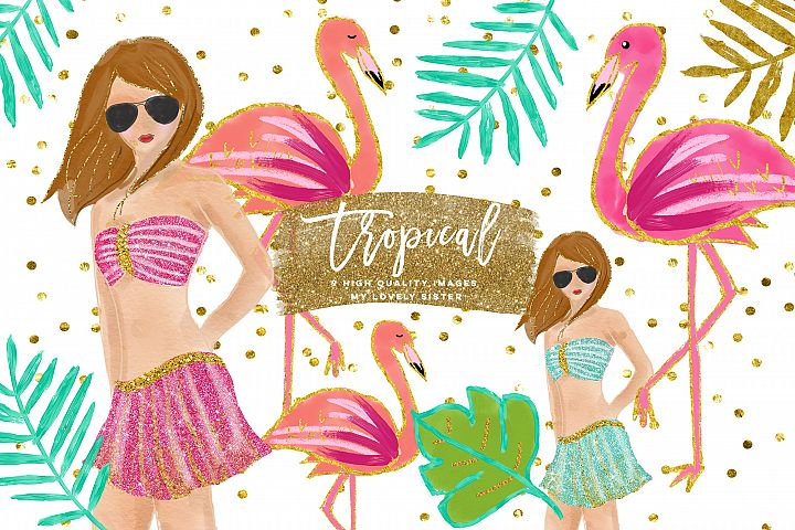 Tropical Clip Art, summer clip art pack, flamingo Clipart, Beach Clipart, Tropical Clipart, pink flamingos clip art, sticker summer planner