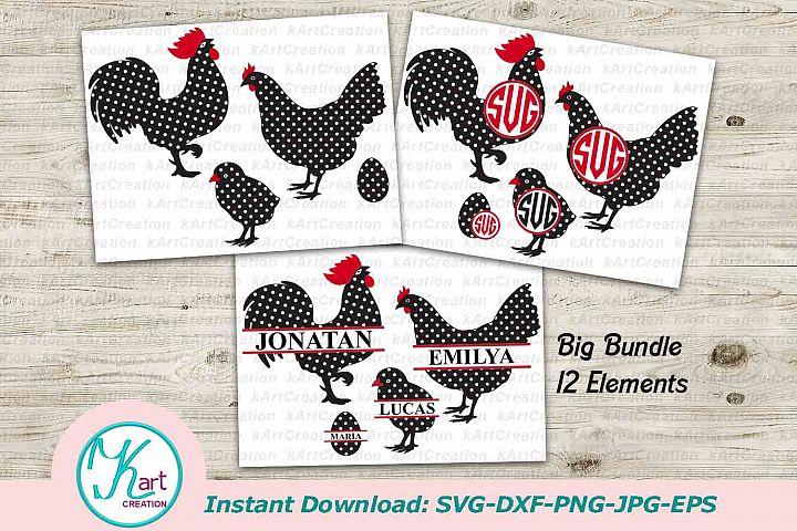 rooster svg file, chicken svg, rooster monogram, chicken monogram, svg, file, polka dot, pattern, easter svg, farm, hen, baby chick, bundle