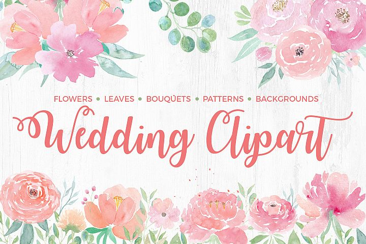 Watercolor Wedding Clipart. Flowers & Textures
