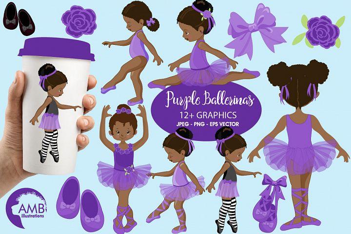 Ballerinas in purple clipart, graphics illustration AMB-1947