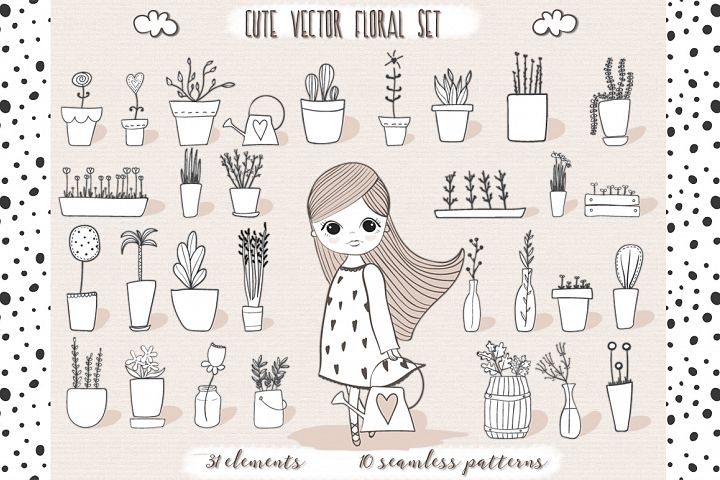 Cute vector pots and patterns example 1