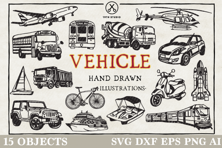 Vehicles Illustration Pack - SVG DXF EPS PNG