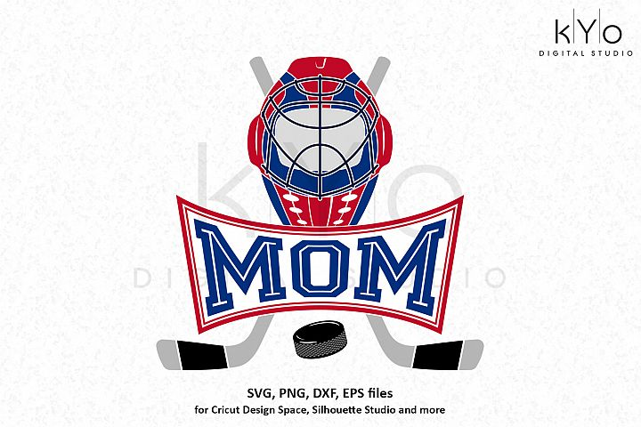 Ice Hockey Mom Emblem Monogram Logo SVG DXF PNG EPS files