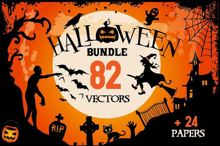 Halloween Clipart bundle 82 elements Eps and PNG
