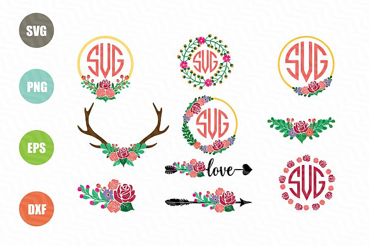 Flower Monogram SVG