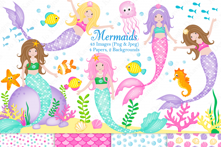 Mermaids, Mermaid graphics & Illustrations, Mermaid clip art, Under the sea clip art, Under the sea graphics & illustrations, Mermaid digital paper