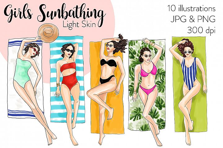 Fashion illustration clipart - Girls Sunbathing - Light Skin