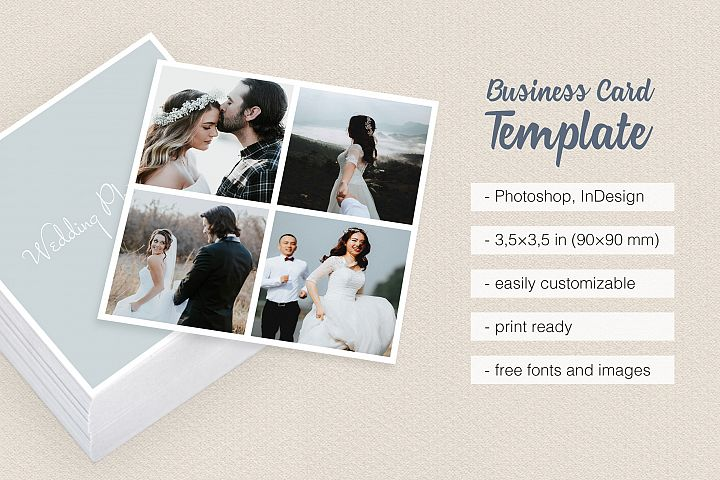Business cards design bundles square polaroid wedding photographer business card reheart Images