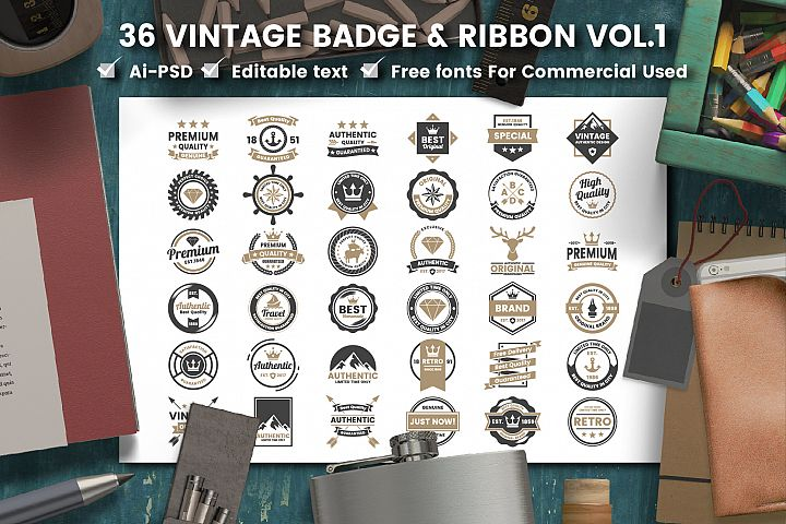 36 VINTAGE BADGE & RIBBON Vol.1