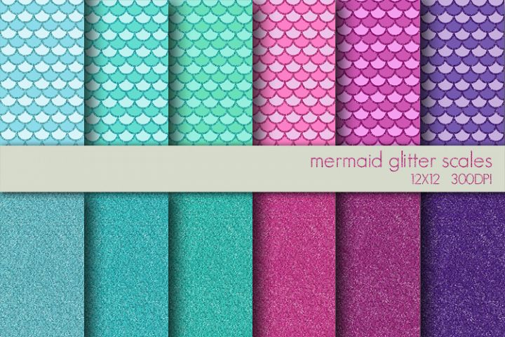 Mermaid Glitter Digital Paper Pack